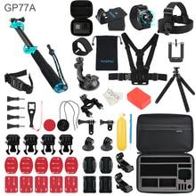 Pour Gopro accessoires ensemble pour go pro hero 9 8 7 6 5 4 3 kit 3 voies selfie poitrine sangle bâton pour Eken h8r xiaomi yi EVA étui