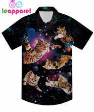 New Design Boys Summer Shirt 3D Colorful Universe Galaxy Animal Cat Print Children Short Sleeve Kids Cute Top Tee