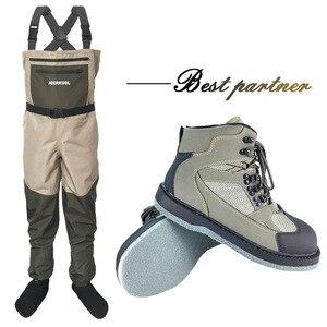 Image 1 - Ropa de pesca de invierno, botas de caza, traje de pesca al aire libre, monos, ropa de pesca con mosca, pantalones de pesca y zapatos de suela de fieltro DXM1