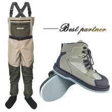 Vêtements de pêche dhiver échassiers de chasse combinaison de pêche en plein air salopette vêtements de pêche à la mouche pantalons de pêche et chaussures à semelle en feutre DXM1