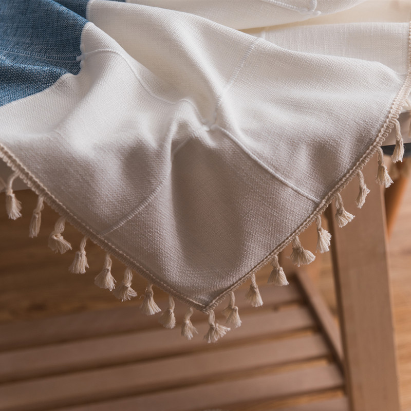Modern Wedding Table Cloth Cotton Striped Tassels Tablecloth Rectangular Party Dining Table Cover Tafelkleed Mantel Mesa Nappe in Tablecloths from Home Garden
