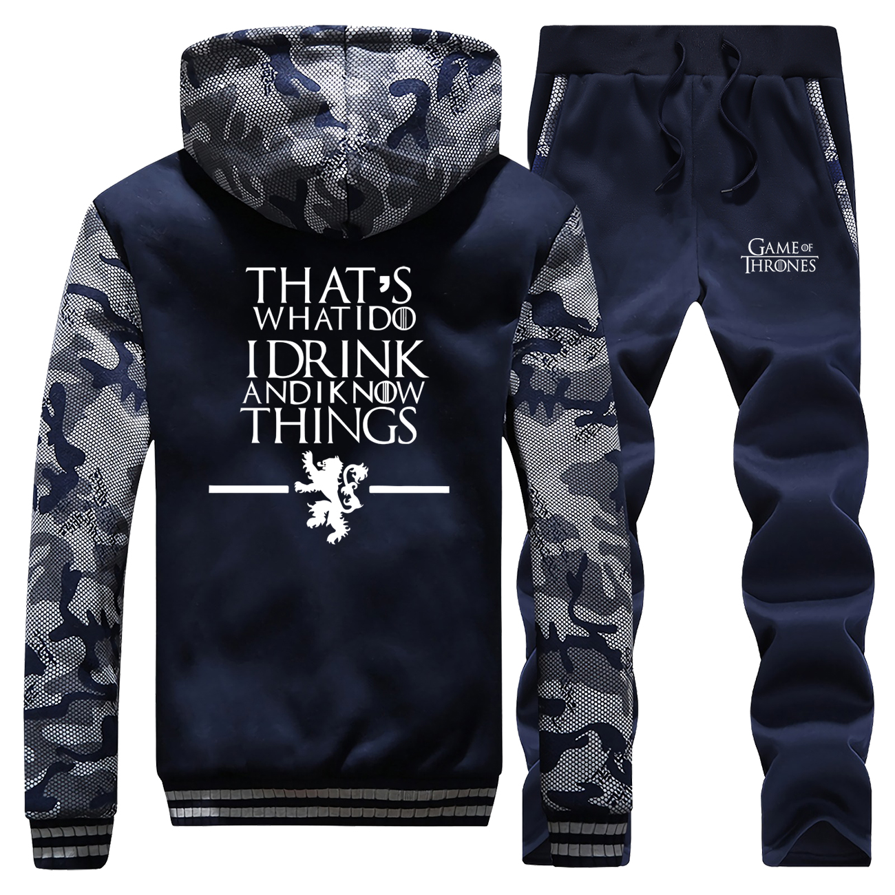 Game Of Thrones TV Show Fashion Men's Sets That's What I Do I Drink And Know Things House Stark Pants Sweatshirt Casual Male Set