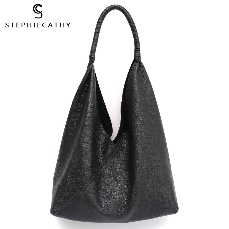 SC Casual Genuine Leather Hobo For Women Brand Design Soft Cow Leather Shoulder Bags Ladies Daily Tote Bag Female Large Handbags