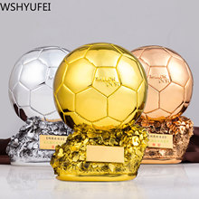 Soccer Trophy Award Crafts Electroplating Gift Athlete Golden-Ball Resin Shooting Final