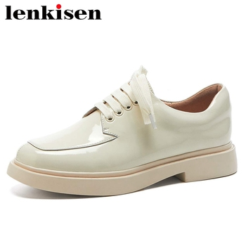 Lenkisen 2020 summer European design full grain leather round toe med heel thick bottom beauty lady daily wear lace up pumps L11