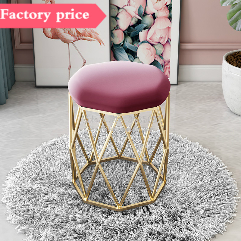 Luxurious Makeup Stool Dressing Stools With Golden Iron Leg Pouf Ottoman Bedroom Chair Styling Chairs Silla Para Maquillaje