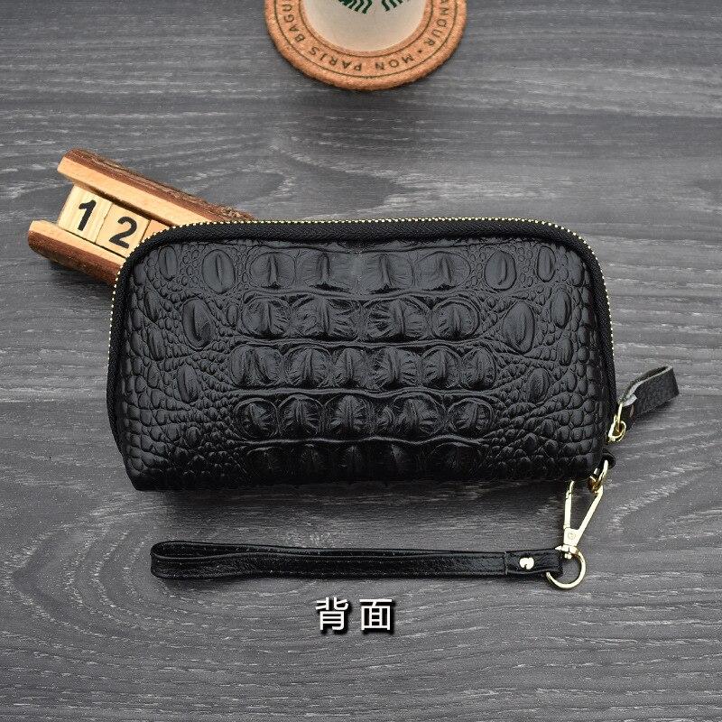 Купить с кэшбэком Crocodile Genuine Leather Wallets for Women 2020 Luxury Vintage Zipper Phone Pouch Female Wrist Clutch Bag Ladies Mini Money Bag