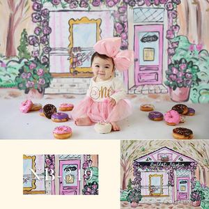 Image 3 - Newborn Baby Shower Photographic Photo Background Birthday Floral Backdrop Photographer Candy Ice Cream Pink Dolls Decoration