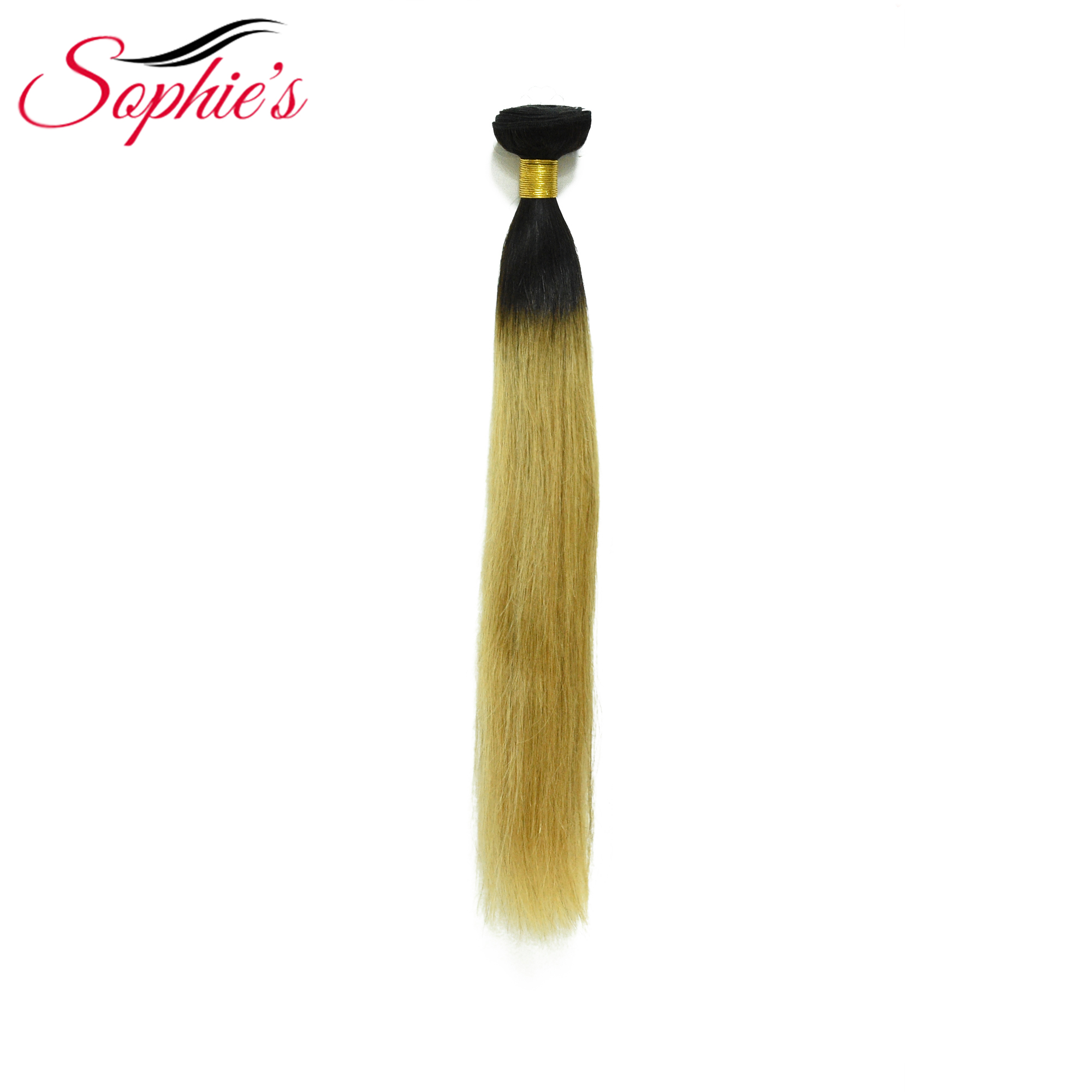 Sophie's Pre-colored Ombre T1B/27 Color Hair Brazilian Human  Hair 1 Bundles  Non-Remy Straight Hair Sew In Hair Extensions