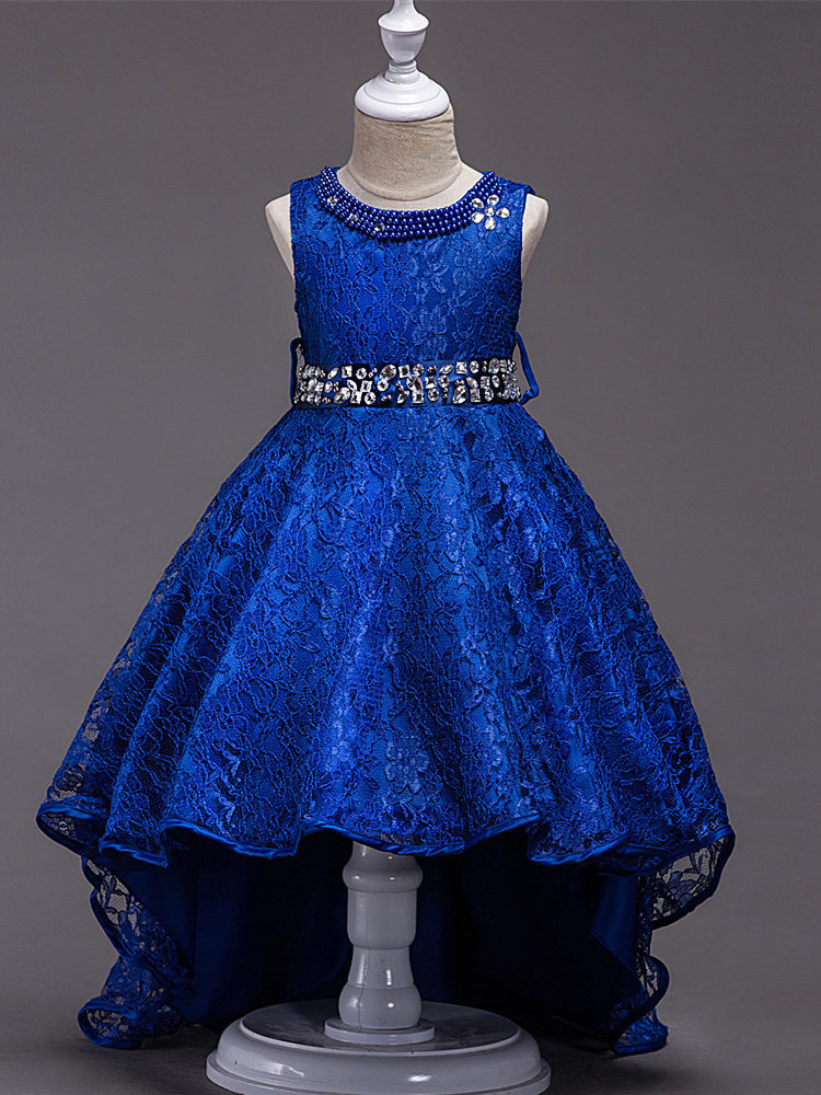 It's YiiYa Flower Girl Dresses For Girls Burgundy Blue Black Champagne Elegant Kid Party Gowns Comunion Pageant Dress L093-3