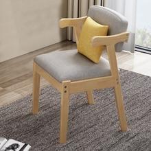 Ev yemek sandalyesi kumaş yastık yan sandalyeler Modern mutfak ahşap çerçeve sandalyeler yumuşak koltuk ile ev yemek yan sandalye