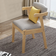 Home Dining Chair Fabric Cushion Side Chairs Modern Kitchen Wood Frame Chairs with Soft Seat Household Dining Side Chair