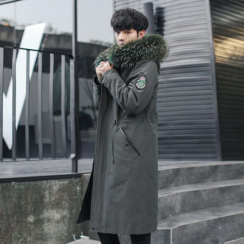 Long Parka Real Fur Coat Men Winter Jacket Natural Rabbit Fur Liner Raccoon Fur Collar Parkas Hombre 2020 8816 KJ3111