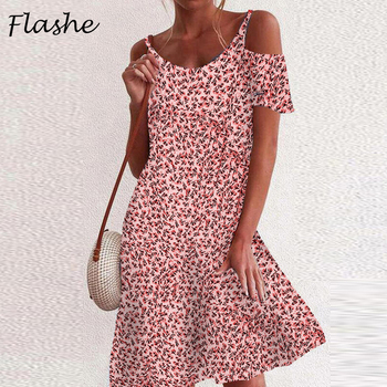 2021 Bohemian Summer Dress Women Sexy V Neck Strapless Vintage Floral Print Dress Ladies Plus Size Beach Holiday Dresses S-5XL 1