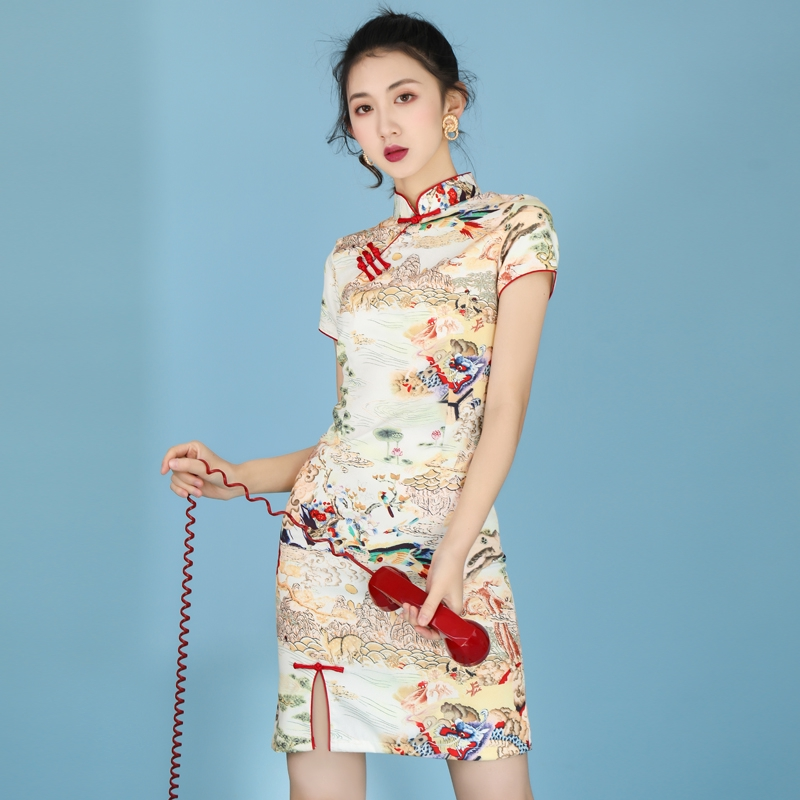 2020 Summer New Chinese Traditional Improved Cheongsam Young Girl Printed Mini Dress Vintage Satin Vestidos Slim Women's Clothes