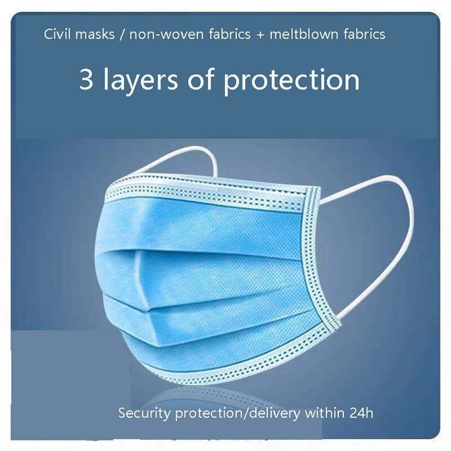 50Pcs/Pack profession 3 Layer Disposable Protective Face Mouth Masks Anti-dust Safe Breathable Mouth Mask Flu Hygiene Face Mask