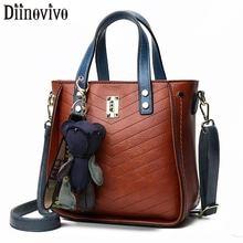 DIINOVIVO Vintage Women Handbag Messenger Bag 2019 Bear Designer Lady Shoulder Rivet Thread Crossbody Female WHDV1299