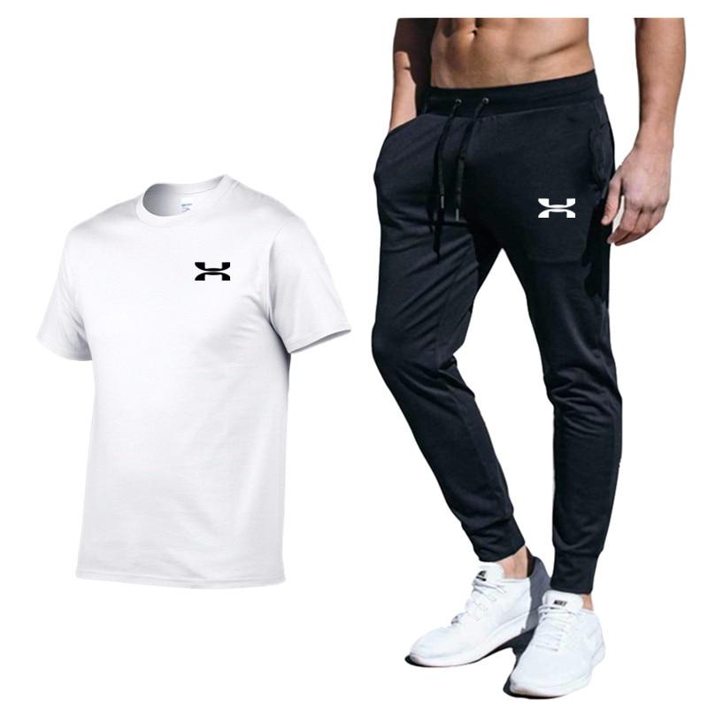 Brand Clothing Men's Fashion t-shirts + Sports Pants Workout Suits Tracksuit Casual Sportsuit Men Sportswear Clothes+Pant Set