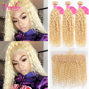 Vanlov 613 Bundles With Frontal Malaysia Water Wave Blonde Human Hair Bundles With Closure 13x4 Lace Frontal With Bundles Remy