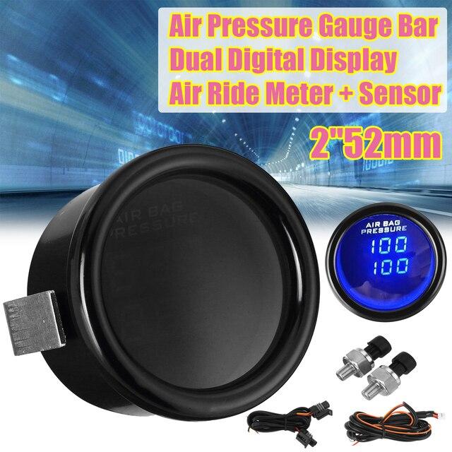 """2 """"52Mm 12V 0 20 Bar Blauwe Led Luchtdrukmeter Bar Dual Digitale Display Lucht rit Meter + Sensor"""