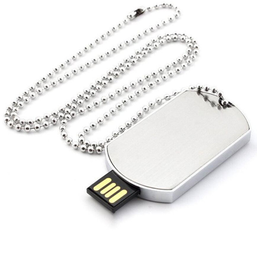 Custom USB Metal Dog Tag Shape USB Flash Drive 2.0 Memory Stick Pendrive Gift