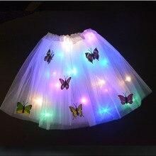 Девушка светодиодный мини-юбка свечение бабочки светильник с юбкой-пачкой, украшенные пайетками и бантом в виде цветка, светящиеся вечерни...