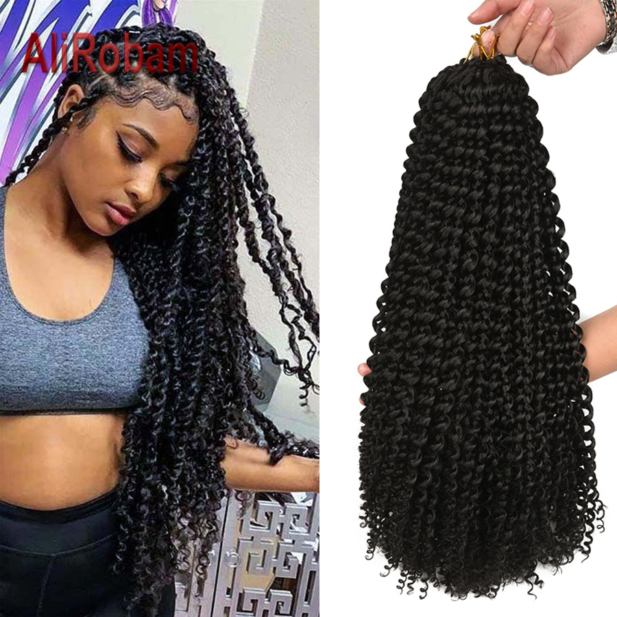 "14 18 22"" Passion Twist Crochet Braids Ombre Brown Synthetic  Braiding Hair Extension Crochet Twist Hair For Black Women 22Roots"