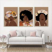 Fashion African Woman Art Prints Head Flower Butterfly Afro Female Black Girl Boho Poster Canvas Beauty Wall Pictures Painting