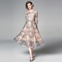 Женское кружевное платье с вышивкой zuoman повседневное приталенное