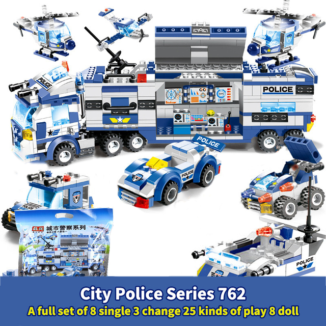 762PCS City Police Series Building Blocks 8 in 1 Vehicle Helicopter City Police Station Compatible DIY Bricks Blocks Toys Kids