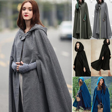Casual Women Winter Vintage Hooded Cloak Sleeveless Button Closure Thin Long Cape Costume Halloween Cosplay Outerwear