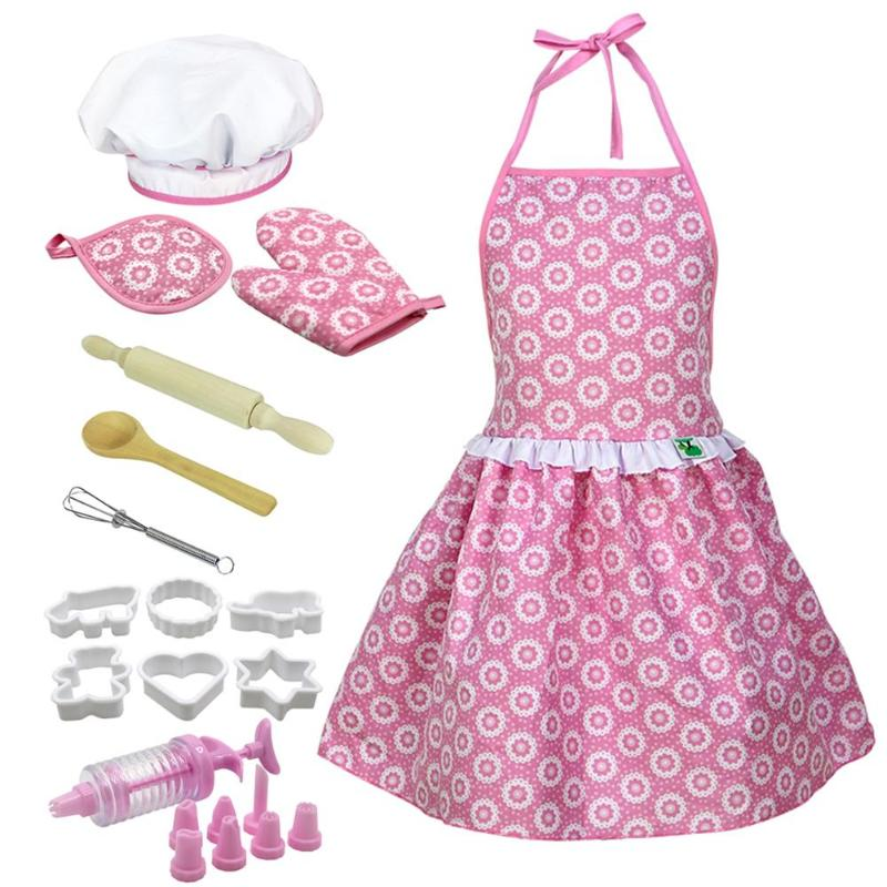 Kids Pretend Play Kitchen Toy Suit Chef Hat Apron Dress Up Costume Tool Rolling Pin Hand Mixer Oven Gloves Accessories