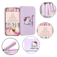 Hello kitty розовый черный 7 шт. набор кистей для макияжа с железной мини-коробкой Наборы инструментов для макияжа Кисти для лица Косметическая кисть для пудры Maquiagem