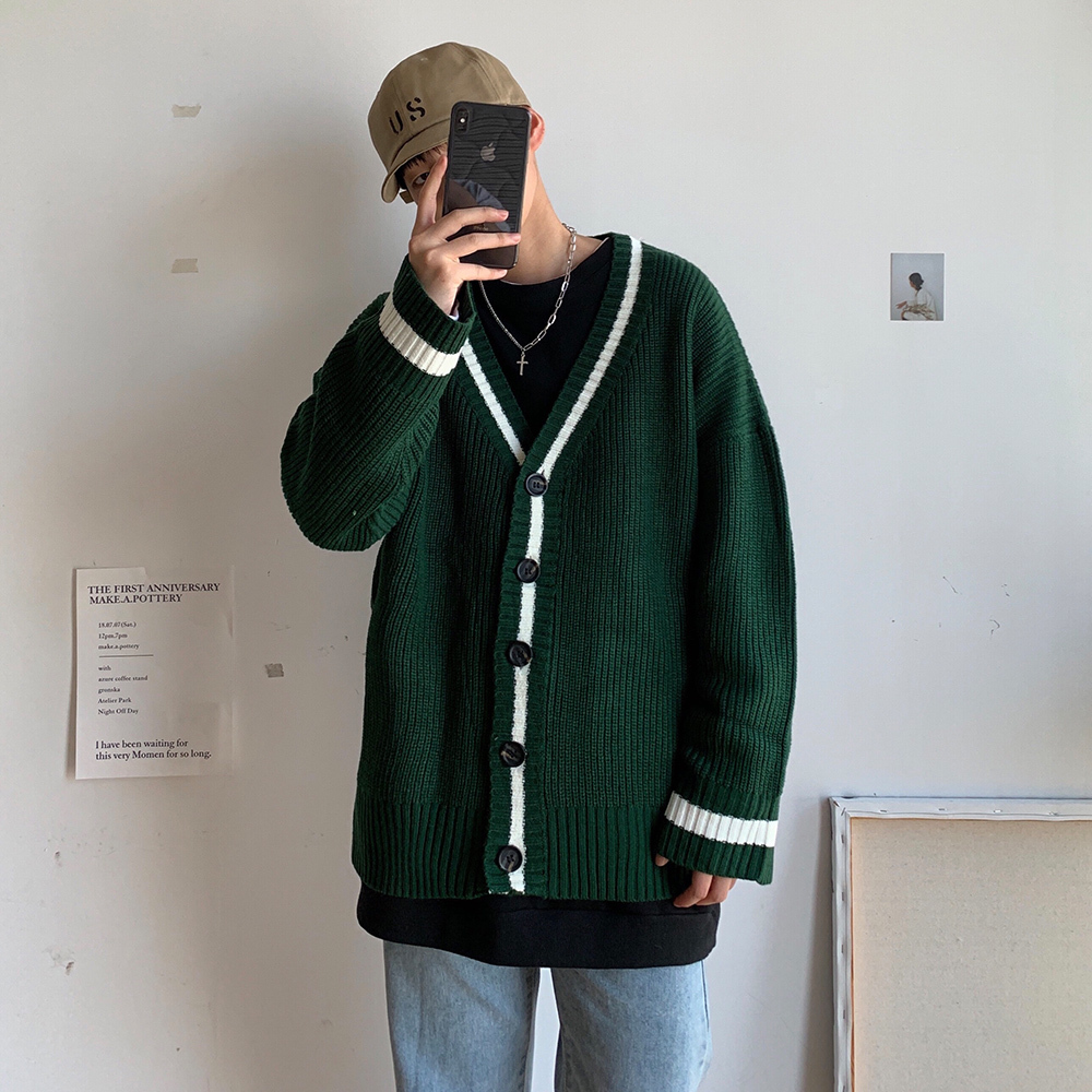 2019 Autumn And Winter New Japanese Knit Cardigan Men Loose Korean Version Of The Grid Harajuku Solid Color Casual Sweater