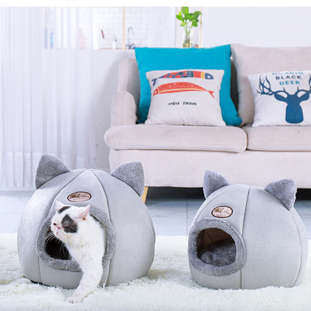 Plush Cat House Self Warming Indoor Cats Dog Bed with Removable Mattress Puppy Kitten Hamster Cage Cave Soft Lounger Sofas 5