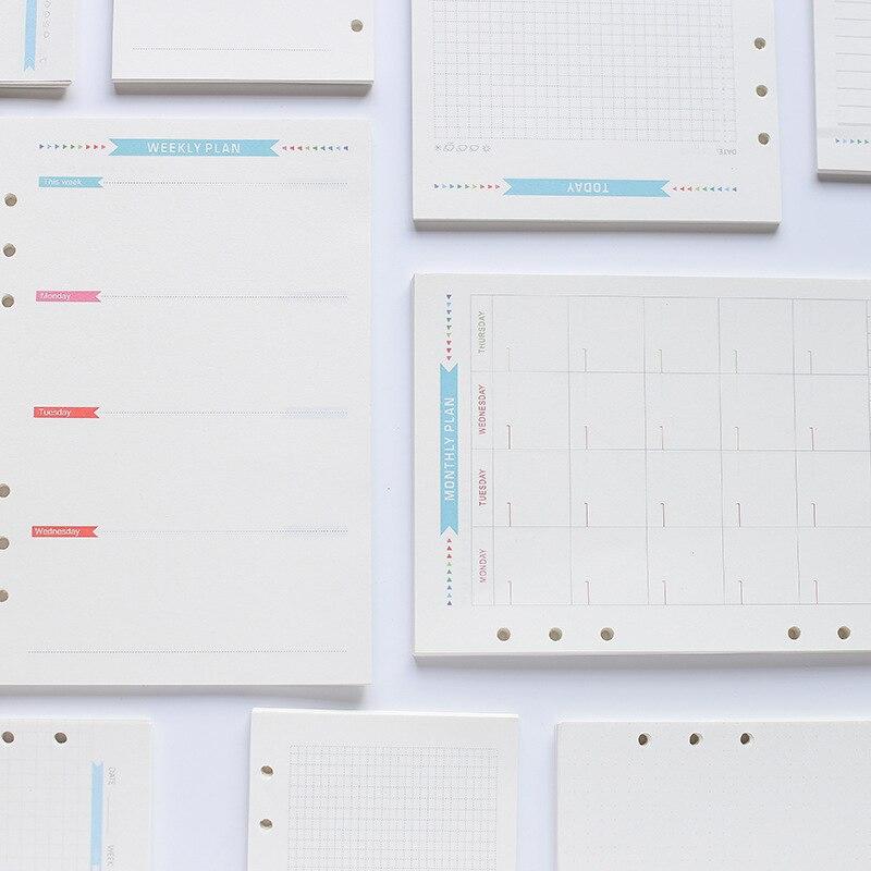 Journal Agenda Plannner Notebook A6 Insert Refills 6 Holes Loose Leaf Spiral Ring Binder Diary Planner Inner Core 100g Paper