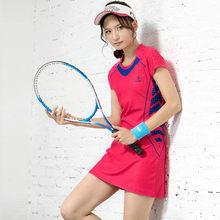 Spring and Summer New Badminton Dress Slimming Quick-drying Short Sleeve Badminton Wear Women's Sports Suit with Safety Shorts
