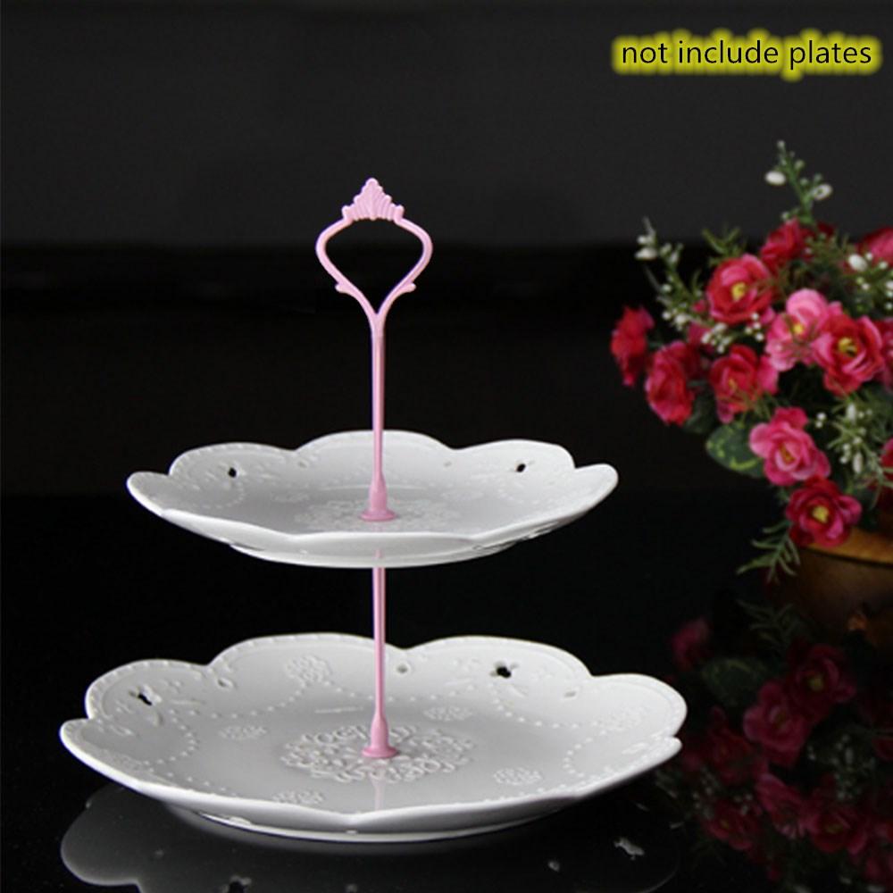 Металлический держатель для торта, подставка для торта, 2 уровня, фурнитура, 3 уровня, корона, металлическая пластина для торта, подставка для торта, вечерние, золотые, для дома, кухни, Аксессуары для выпечки - Цвет: 2  Layers pink
