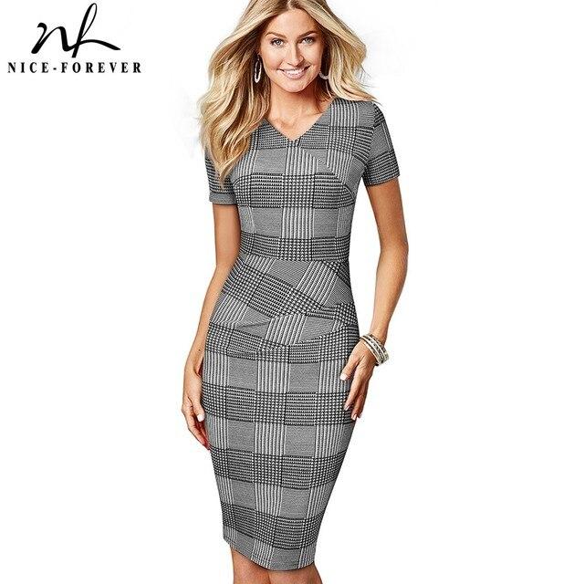 Nice Forever vestido ajustado elegante para mujer, estampado a cuadros, trabajo, fiesta, negocios, oficina, B537
