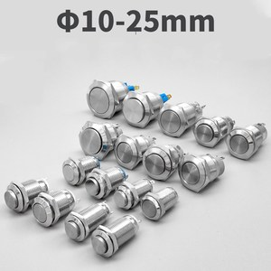 10mm 12mm 16mm 19mm 22mm Panel Hole Metal Button Switch Power Push Button Flat/High Head Momentary/Locking Soldering NO/NC
