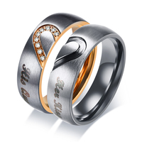 Her King His Queen Couple Wedding Band Ring Stainless Steel CZ Stone Anniversary Promise Ring for Women Men Fashion Jewelry