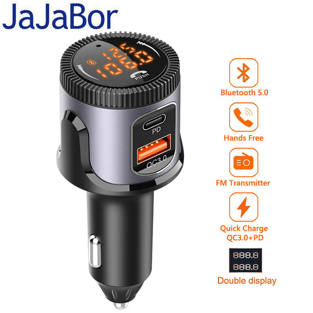 JaJaBor Bluetooth 5.0 Car Kit Handsfree Wireless Adapter Stereo FM Transmitter Car MP3 Player USB Quick Charge 3.0+PD Charger
