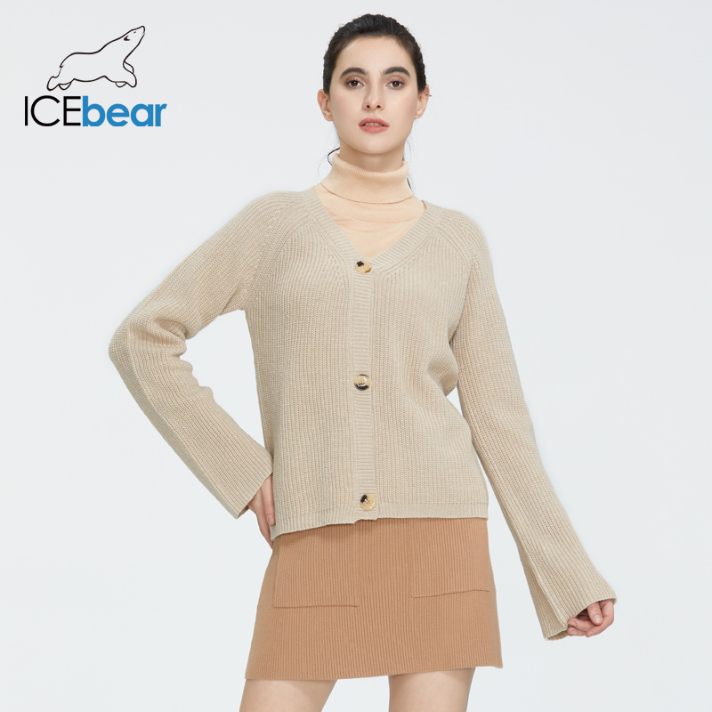 Icebear 2020 Spring New Women's Basic Casual Casual V-Neck Sweater Knit Top AW-143