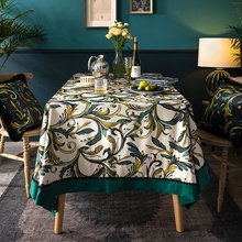 Herbal Selaginellae white green round vintage table cloth retangular linen cover