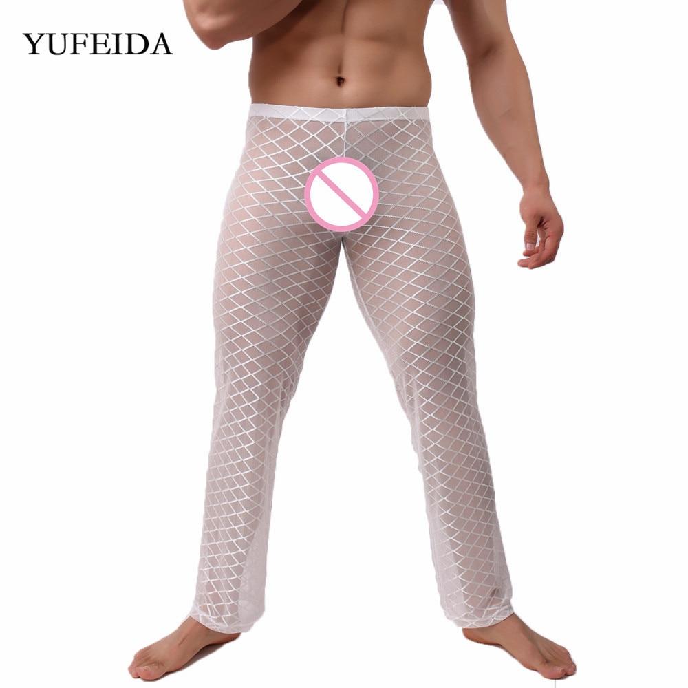 YUFEIDA Men Long Pants Underwear Full Length Mesh Transparent Sleepwear Nightwear Sexy Mesh Underwear Long Trousers Pajama Pants