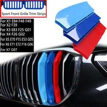 Bande de garniture de calandre, 3 pièces, pour BMW X1 X2 X3 X4 X5 X6 X7 E84 F48 F49 F39 E83 F25 G01 F26 G02 E70 F15 E53 G05 E71 E72 F16 G06 G07