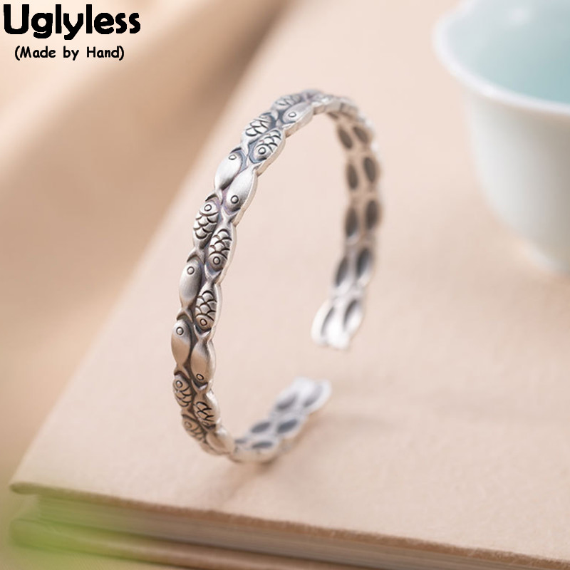 Uglyless Double Circles Solid 999 Full Silver Fishes Bangles for Women Vintage Thai Silver Fish Animal Open Bangle Funny Jewelry