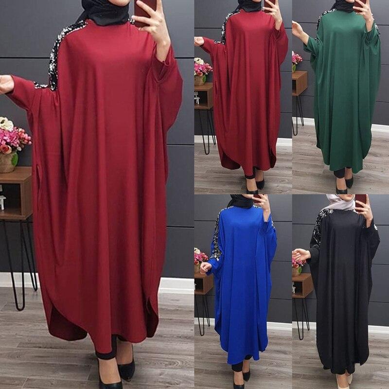 Siskakia Muslim Abaya Solid Fashion Sequins Patchwork Ethnic Abaya Dress Outsize Batwing Sleeve Middle East Dubai Islam Clothing
