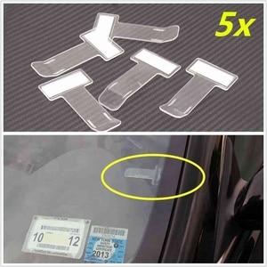 Image 1 - 5pcs Set Car Parking Ticket Holder Clip Sticker Automotive Internal Organizer  Car Styling For Car Windshield Fastener Sticker 4