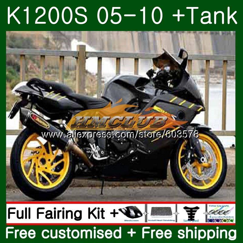 Pour BMW K 1200 S K 1200 S K1200S 05 06 07 08 09 10 Noir jaune 38CL. 7 K1200 S K-1200S 2005 2006 2007 2008 2009 2010 Carénage